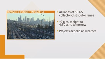 SB I-5 lanes closures planned for Monday night