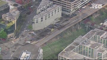 Aerials of Seattle viaduct demolition