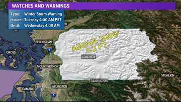 Winter Storm Warning in effect for mountain areas in north Puget Sound