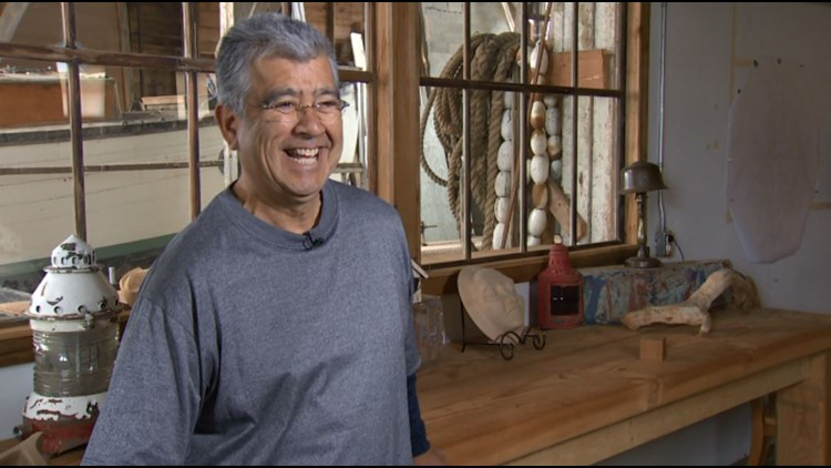 Arthur Vickers in his Cowichan Bay boathouse turned gallery