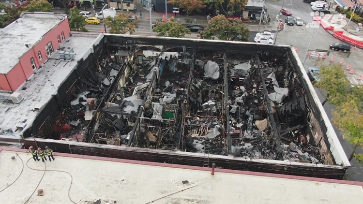 Drone footage of Ballard businesses destroyed in fire