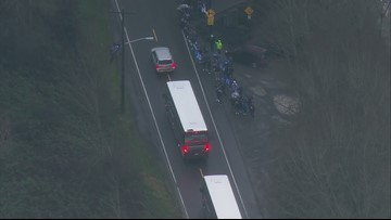 Fans wave as the Seahawks leave for Sea-Tac to head to Green Bay