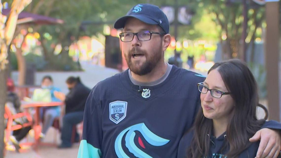 Seattle Kraken fans celebrate first official game in Vegas