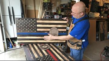 Kent man creates wooden American flags to honor fallen first responders, veterans