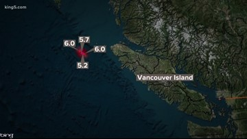 Several earthquakes off the coast of Vancouver