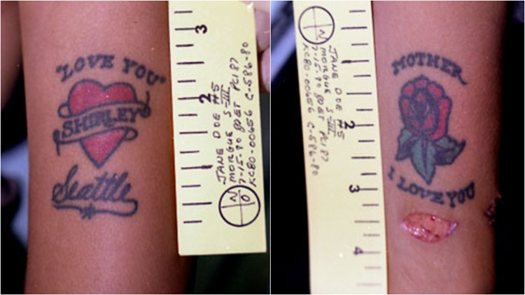 Kern County Jane Doe's tattoos. (Photo: Courtesy of KGET)