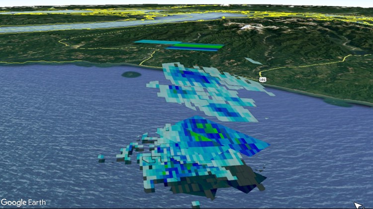 A collection of radar data shows falling meteorites. The blue/green/gray pixels are reflections of radar energy off of falling meteorites, collected over a period of about 10 minutes by three different radars. (Photo: NASA)