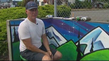 Port Angeles artist paints mural to remember mom, 3 children killed in trailer fire
