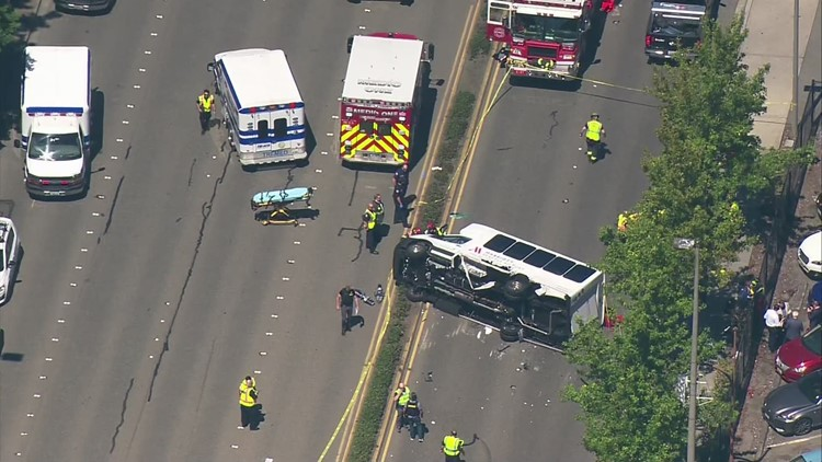 Aerials: Crash blocks lanes of International Boulevard near Sea-Tac Airport