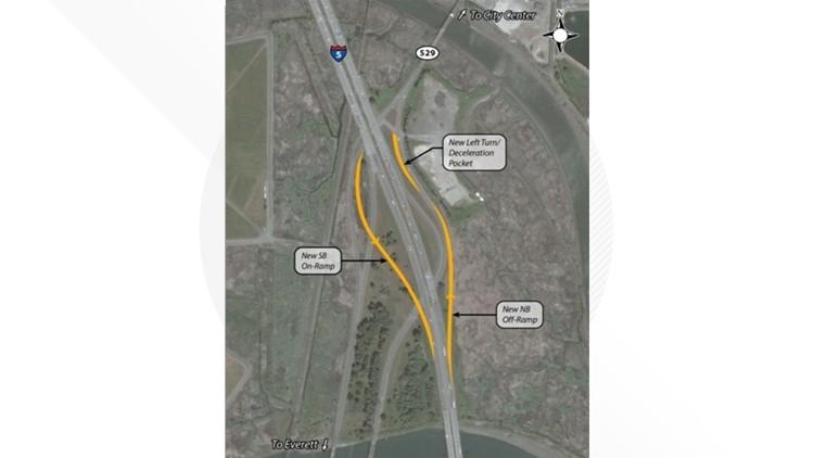 map of I-5 and SR 529 interchange