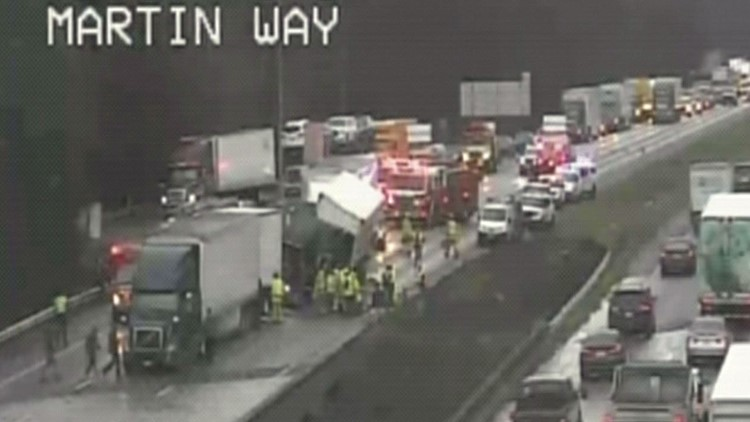 Speed contributed to multi-truck crash on SB I-5 in Lacey that caused nightmare commute