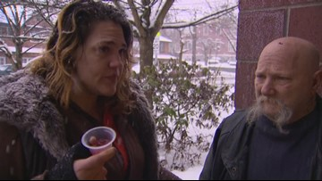 Homeless outreach during snowstorm