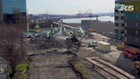 Drone footage of viaduct demolition near Pike Place Market