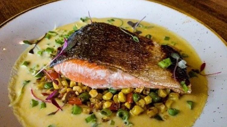 Sockeye salmon seared by Chef Nick Novello