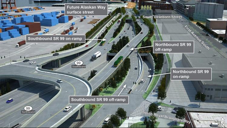 SR 99 downtown ramp map