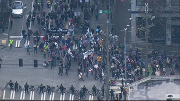 Hundreds march through Seattle on Martin Luther King Jr. Day