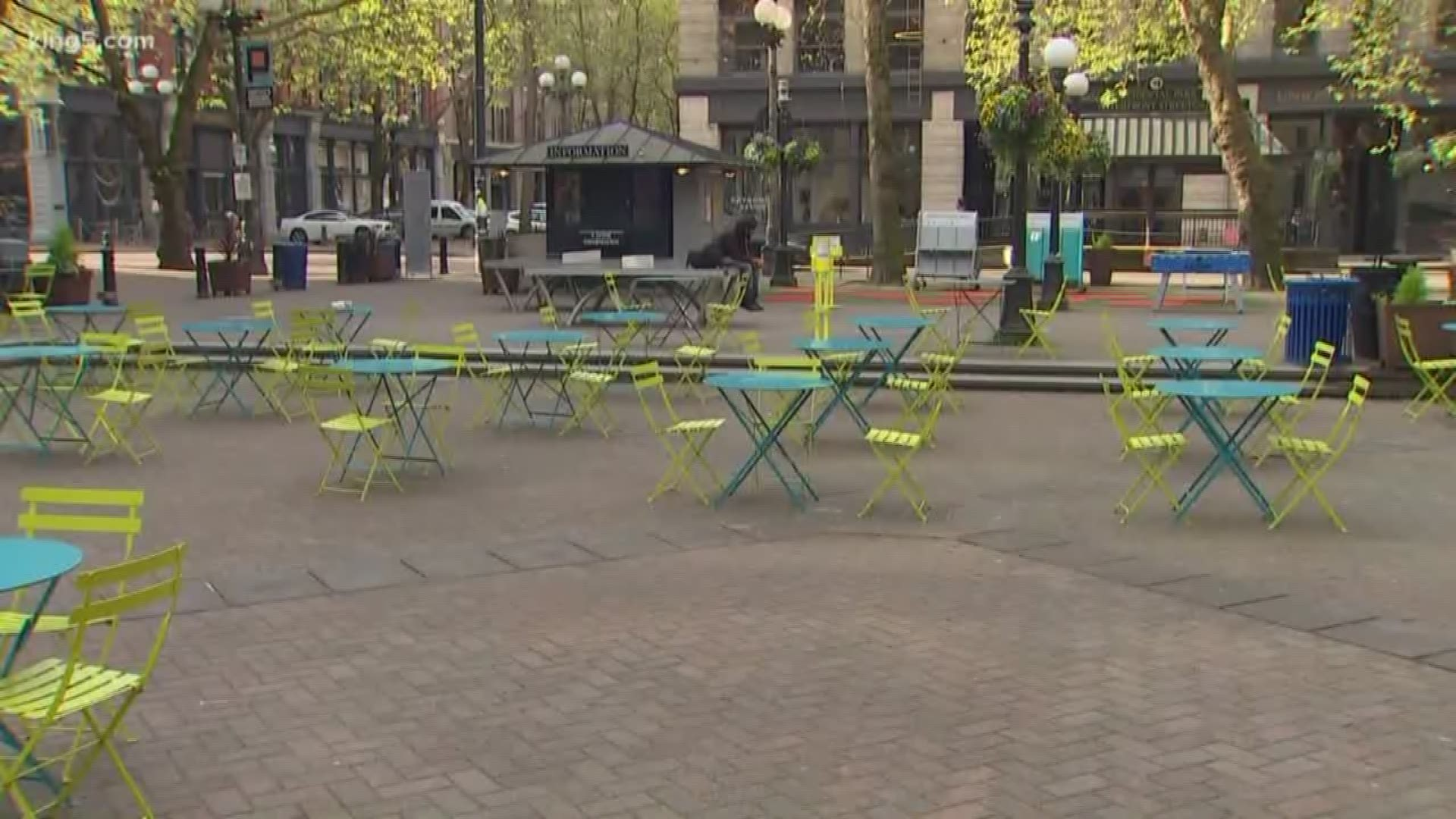 The Changing Seattle Waterfront Occidental Park King5 Com