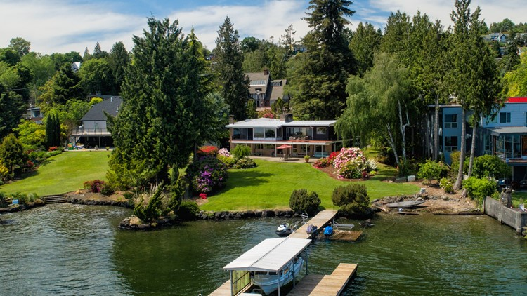 The home includes 100+ feet of waterfront.