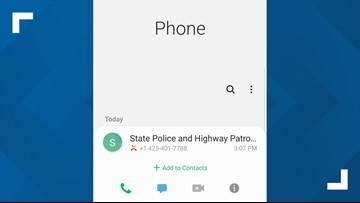 Spoofing scam using Washington State Patrol phone number