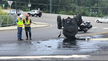 Tank carrying tar overturns in Bellevue, spills entire load