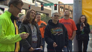 Union groups protest outside Freedom Foundation event in Bellevue