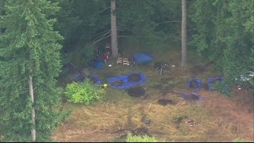 Aerials of police investigation in Thurston County