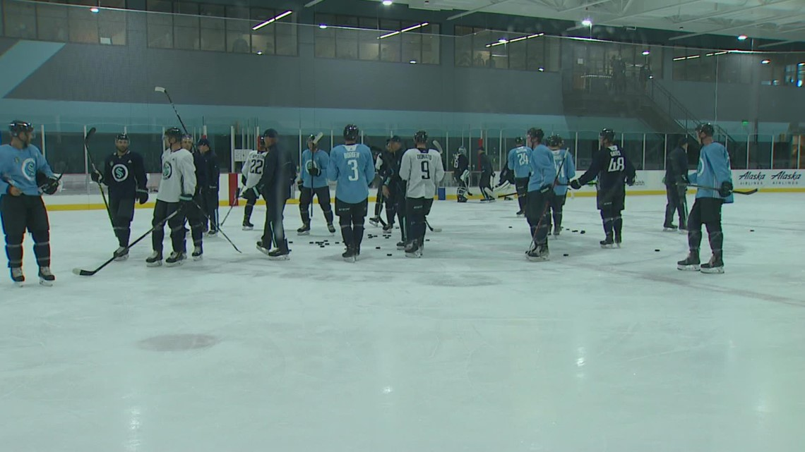 Seattle Kraken players hit the ice for Day 2 of Training Camp in Northgate
