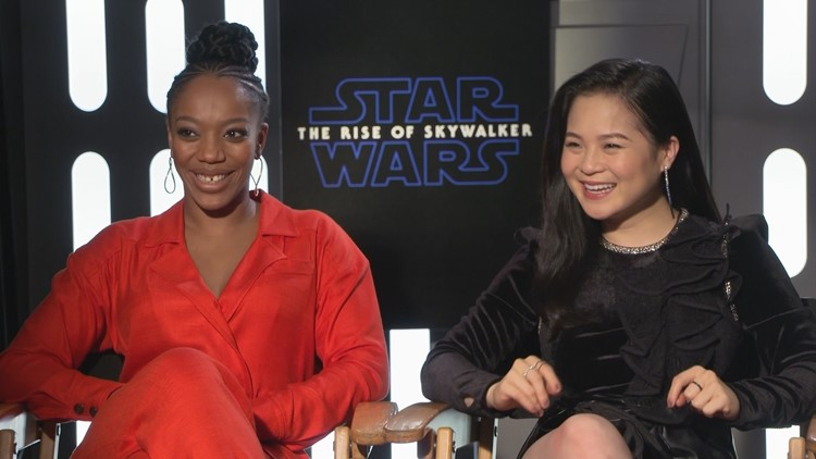 Naomi Ackie (left) and Kelly Marie Tran (right) talk to Saint Bryan about their roles in Star Wars: The Rise of Skywalker