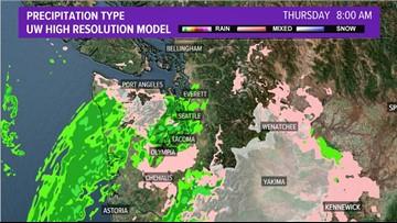 System to bring lowland rain, mountain snow to western Washington Thursday