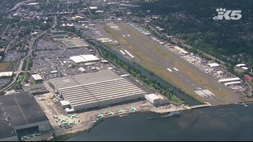 737 MAX jets on a runway at Boeing Field