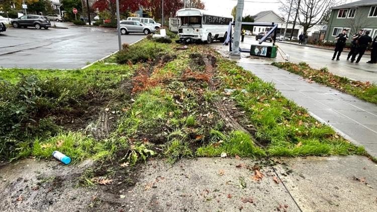 Scene photos: Stolen bus crashes in Seattle