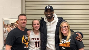 Kobe Bryant attends basketball game in Cashmere, Washington to see Hailey Van Lith