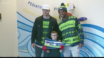Two Seattle Seahawks visit Spokane's Sacred Heart Children's Hospital