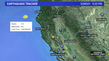 5.8 magnitude earthquake off California's North Coast, felt in Bay Area