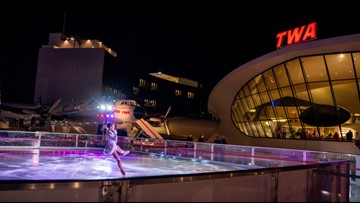 What it's like to ice skate at the TWA Hotel Runway Rink