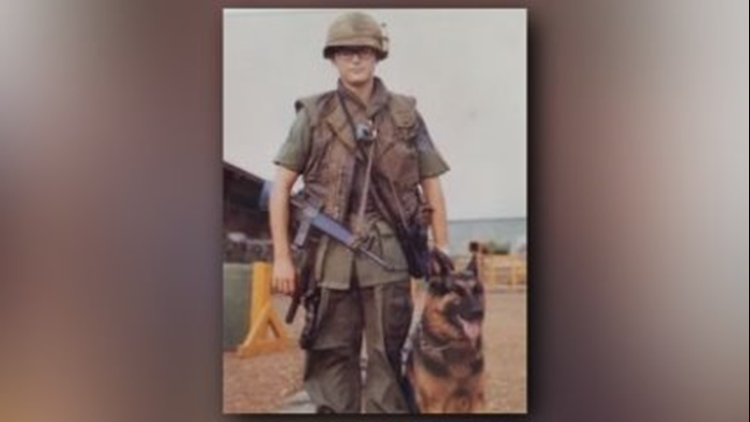 Jim Botts with his dog Roland in Vietnam. Botts served on the Highground's military dog tribute committee. (Photo: Contributed Photo)