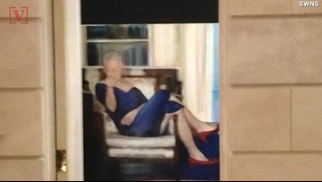 Photo Taken Inside Jeffrey Epstein's NY Mansion Shows Portrait of Bill Clinton in Blue Dress & Red Heels