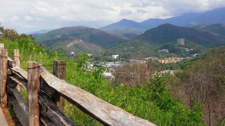 Gatlinburg Tennessee from Bypass Overlook Great Smoky Mountains Sevier County
