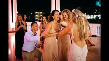 Bride plans best friend's surprise proposal at her own wedding