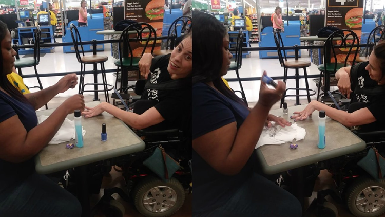 Woman with cerebral palsy denied service at nail salon so Walmart employee steps in to help