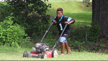 This 12-year-old is cutting grass so he can pay for college