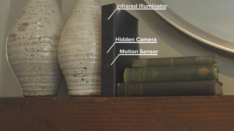 A portfolio hides a camera on its spine that can work for years on a single battery.