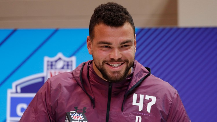 Mar 1, 2018; Indianapolis, IN, USA; Texas Longhorns offensive lineman Connor Williams speaks to the media during the 2018 NFL Combine at the Indianapolis Convention Center. Mandatory Credit: Brian Spurlock-USA TODAY Sports