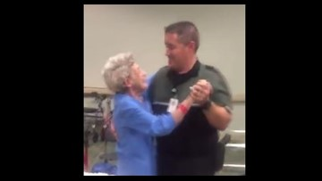 Deputy sings, dances with woman to comfort her during Hurricane Irma