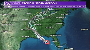 Tropical Storm Gordon strengthens in the Gulf as it moves away from Florida