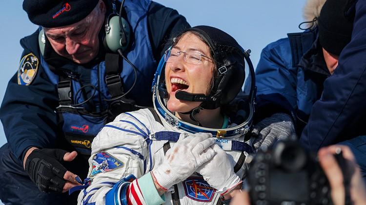 Kazakhstan Russia Space Station christina koch returns