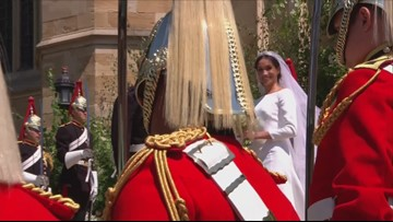 Prince Harry and Meghan Markle exit St. George's Chapel
