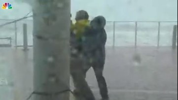 Jim Cantore saves NBC News reporter Kerry Sanders during Michael live shot