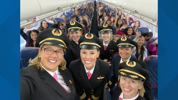 All-female Delta crew flies 120 girls to NASA as part of gender equality program
